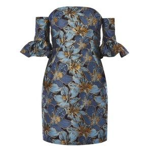 🆕 NWT Topshop Flute Sleeve Bardot Mini Dress